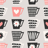 Seamless Coffee Cups Pattern - 124116351