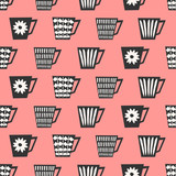 Seamless Coffee Cups Pattern - 124116530