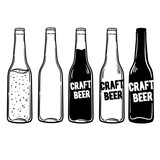 vector set of bottles of beer or soda. Inscriptions can be replaced. Perfect for a menu in a restaurant or bar. - 124117930