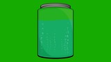 Cartoon Jar Filled with Liquid and bubbles on a Green Screen