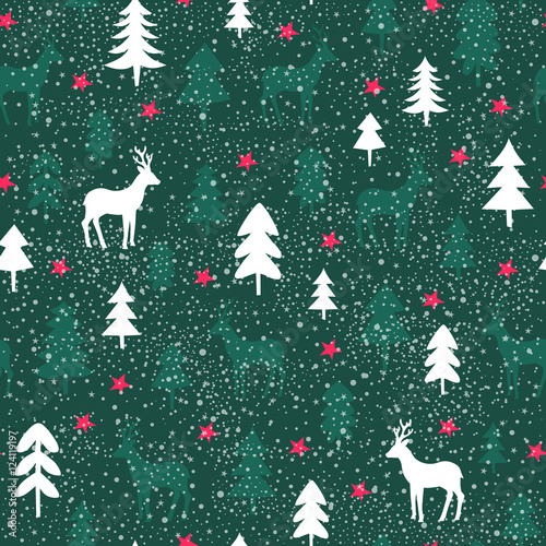 Cotton fabric seamless christmas pattern