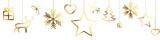 Fototapety Bannière décorations de Noël dorées sur fond blanc