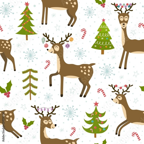 Cotton fabric Cute christmas deers seamless pattern
