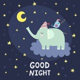 Good night card with cute elephant flying on the cloud
