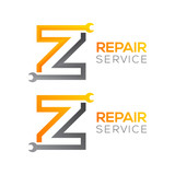 Letter Z with wrench logo,Industrial,repair,tools,service and maintenance logo for corporate identity