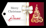 Luxury red Christmas name tag with golden ornament Christmas tree and white ribbon