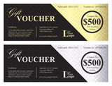 Luxury gift voucher with gold and silver ornamental background