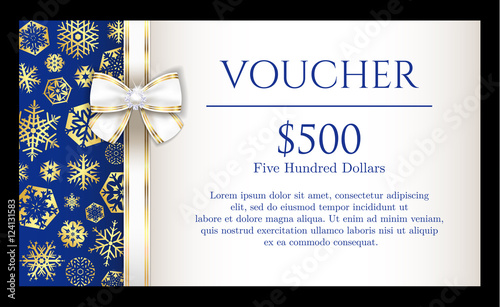 Luxury Christmas voucher with golden snowflakes on blue background and with white ribbon - 124131583