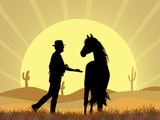 cow boy and horse in the desert