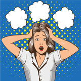 Fototapety Woman in panic. Vector illustration in pop art retro style. Stressed girl in shock grabs her head in hands