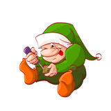 Colorful vector illustration of a cartoon christmas elf or dwarf, fixing or building toy with screwdriver
