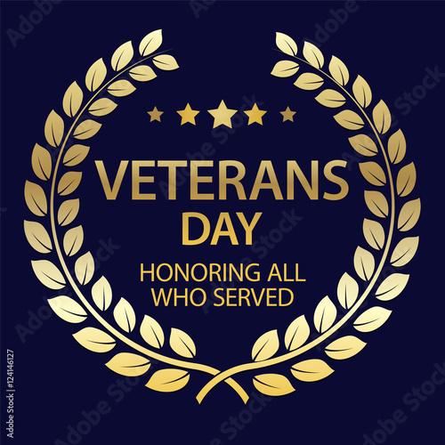 Veterans Day background with Golden Laurel Wreath. USA patriotic ...