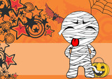 funny mummy kid expression cartoon halloween background in vector format