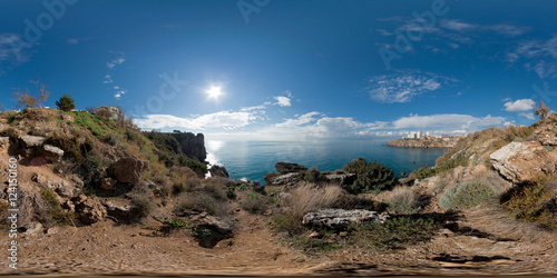 Foto op Canvas 360 degree spherical panorama from Turkey, Antalya (Lara region). Park Falez. Landscape with sea, mountains, trees, rocks and the city in the background.
