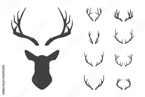 Fotobehang Hipster Hert Deer s head and antlers set.