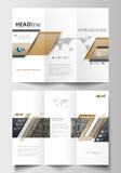 Tri-fold brochure business templates on both sides. Easy editable abstract layout in flat design. Golden technology background, connection structure with connecting dots and lines, science vector