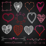 Valentines day in chalkboard style, red, white and pink hearts