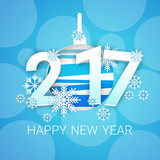 Happy New Year 2017 Banner Christmas Decorations Greeting Card Flat Vector Illustration