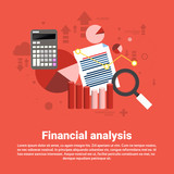 Financial Analysis Business Web Banner Flat Vector Illustration