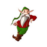 Colorful vector illustration of a dwarf or a christmas elf leaning