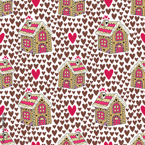 Materiał do szycia New year background with gingerbread house and hearts. Sweets cookie seamless pattern