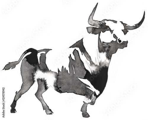 black and white monochrome painting with water and ink draw bull illustration - 124178942