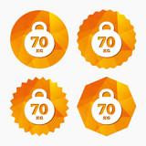 Weight sign icon. 70 kilogram (kg). Sport symbol.