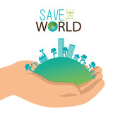 ecology concept hand holds city save the world vectro illustration eps 10