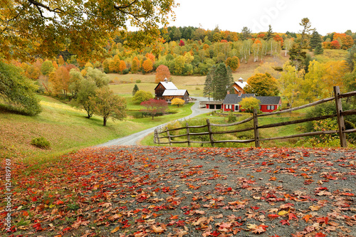 In de dag Herfst Overlooking a peaceful New England Farm in the autumn, Woodstock, Vermont, USA