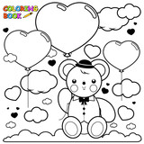 Teddy bear and heart balloons in the sky coloring book page