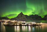 Aurora borealis over a village on the Lofoten in Norway - Fine Art prints