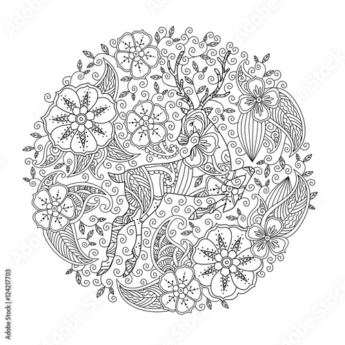 Coloring page with running deer and floral circle.