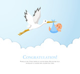 Fototapety Cartoon stork in sky with baby. Design template for greeting card, baby shower invitation, banner. Congratulations to the newborn.