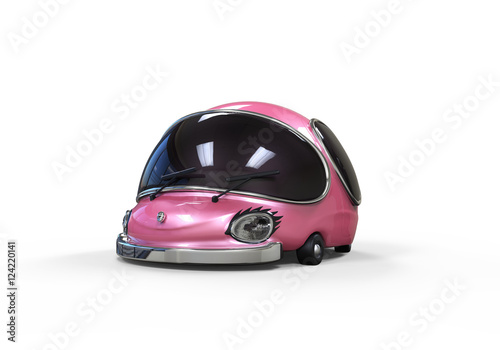 Foto op Canvas Snelle auto s 3D illustration of ultra modern pink future car in cartoon style, funny design of transport, isolated on white background, futuristic concept car, aerography, girls style