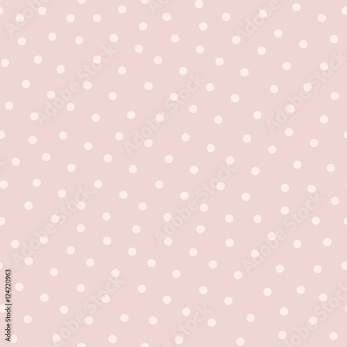 Polka dot seamless pattern in popular trendy colors, soft pink and powdery. Asbstract vector background, cute endless texture for cards, fabric, invitations, baby shower or wedding decoration - 124220963
