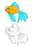 Color coloring book for young children - colorful fish - vector eps
