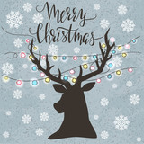 Christmas template with silhouette of reindeer head