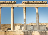 Pergamon Acropolis - ancient greek columns on hill