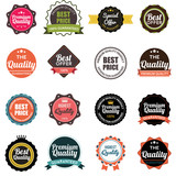Web stickers, banners and labels. Sale arrow tag icons. Discount special offer symbols. 50%, 60%, 70% and 80% percent discount signs. Price tags set. Vector illustration