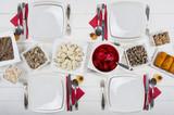 Christmas table and dishes Christmas Eve