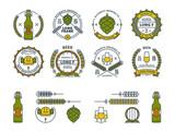 Outline colorful vector beer emblems, symbols, icons, pub labels, badges collection.