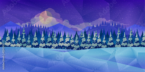 Foto op Canvas Violet Winter forest, vector background low poly style