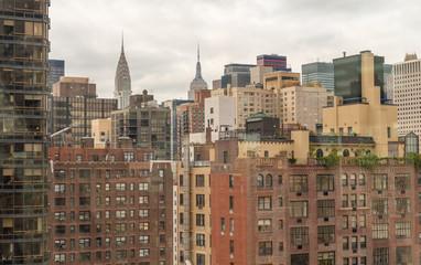 Aerial view of Manhattan buildings. Metropolis skyline