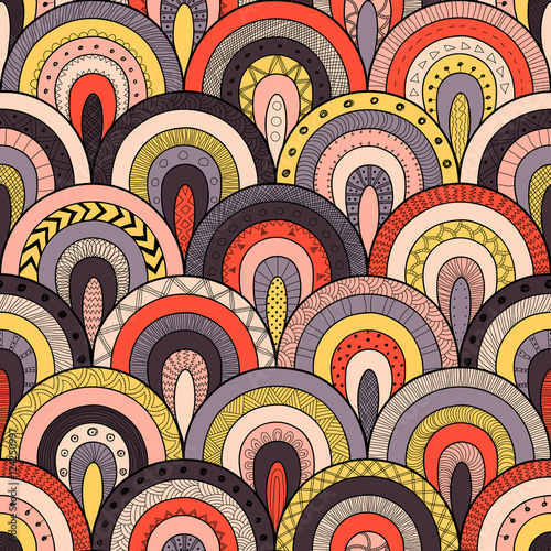 Cotton fabric Tribal seamless pattern, indian or african ethnic patchwork style. Round tiles with hand drawn texture.
