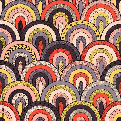 Materiał do szycia Tribal wzór, styl patchwork etnicznych indyjskich lub Afryki. Okrągłe płytki z ręcznie rysowane tekstury.