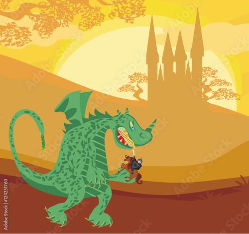 Foto op Plexiglas Draken dragon and knight