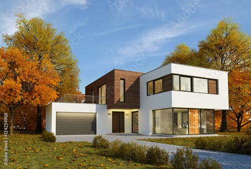 Poster Haus Kubus Holz Herbststimmung