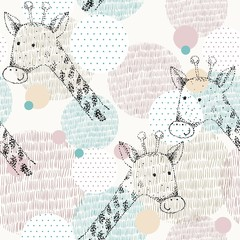 Vector drawn seamless geometric pattern with giraffe
