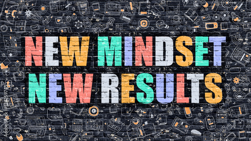 New Mindset New Results Concept. Multicolor on Dark Brickwall.