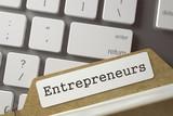 File Card with Inscription Entrepreneurs. 3D.